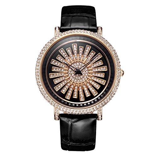 Matisse Fashion OEsterreich Kristall Schneeflocke drehbar Zifferblatt Lederband Oxford Quarzuhr Armbanduhr Rotgold Finish