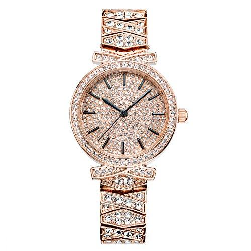 Matisse Fashion OEsterreich Kristall drehbar Oxford Zifferblatt Stahl Quarzuhr Armbanduhr Rotgold Finish