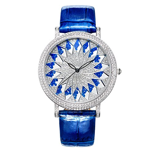 Matisse Fashion Schneeflocke Full Kristall Zifferblatt Fall Damen Fashion Strap Quarz Leder Armbanduhr blau