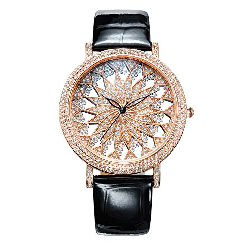 Matisse Fashion Schneeflocke Full Kristall Zifferblatt Fall Lederband Frauen Fashion Quarzuhr Rose Gold