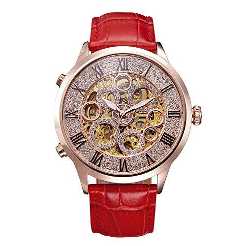 Matisse Lady Full Kristall Zifferblatt Lederband automatische mechanische Uhr Armbanduhr
