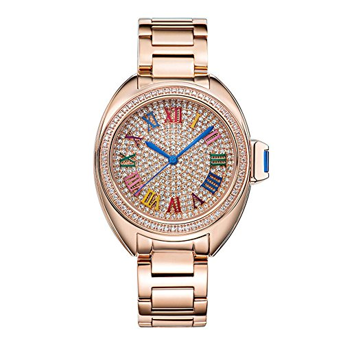Matisse Lady Full Kristall Zifferblatt Colorful roemischen Zahl Edelstahl Gurt Business Quarzt Armbanduhr