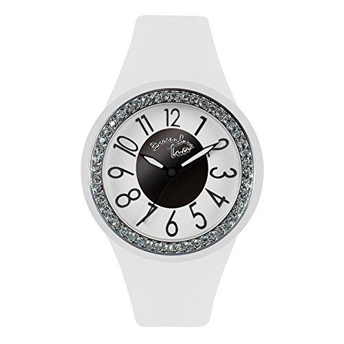 Damen Armbanduhr Silikon Weiss Steine Colour Touch Braccialini Tua 174S BB