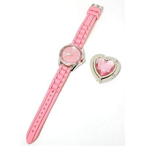 Paris Hilton Pinke Armbanduhr Mit Herzform Handtaschenhalter