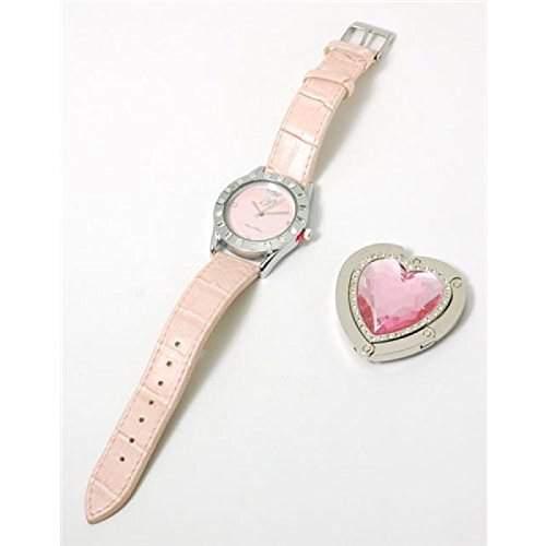 Paris Hilton Pinke Armbanduhr Und Herzfoermiger Handtaschenhalter