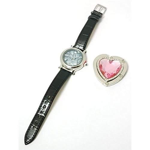 Paris Hilton Schwarze Leder Armband Uhr Mit Herzfoermigem Handtaschenhalter