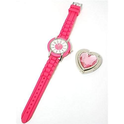 Paris Hilton Knall- Pinke Armbanduhr Mit Herzform Handtaschenhalter