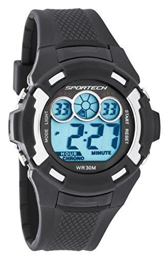Sportech Digitaluhr Unisex Armband Schwarz wasserbestaendig SP10612