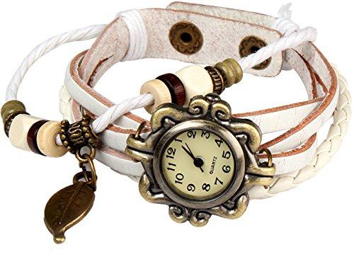 Bohemian Stil wasserfest Retro handgefertigt Leder Angel Wing Anhaenger Armbanduhr Modisches Luxus und stilvoll Gewebe um Armbanduhr Armband fuer Frauen Damen Maedchen kratzfest weiss