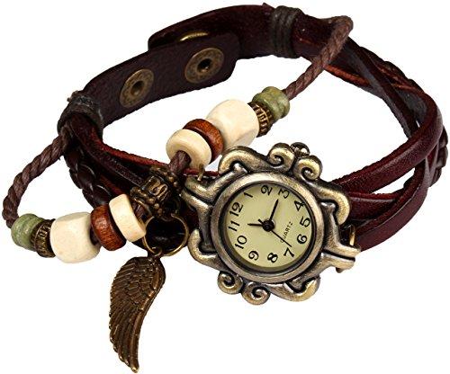 Bohemian Stil wasserfest Retro handgefertigt Leder Angel Wing Anhaenger Armbanduhr Modisches Luxus Stilvolle Weave Armbanduhr Armband fuer Frauen Damen Maedchen kratzfest braun