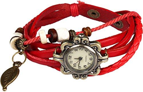 Bohemian Stil wasserfest Retro handgefertigt Leder Angel Wing Anhaenger Armbanduhr Modisches Luxus und stilvoll Gewebe um Armbanduhr Armband fuer Frauen Damen Maedchen kratzfest Rot