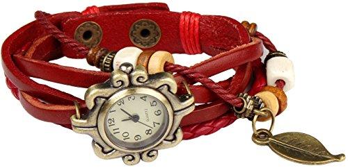 Bohemian Stil wasserfest Retro handgefertigt Leder Angel Wing Anhaenger Armbanduhr Modisches Luxus und stilvoll Gewebe um Armbanduhr Armband fuer Frauen Damen Maedchen kratzfest Rose