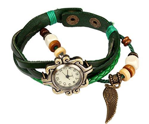 Bohemian Stil wasserfest Retro handgefertigt Leder Angel Wing Anhaenger Armbanduhr Modisches Luxus und stilvoll Gewebe um Armbanduhr Armband fuer Frauen Damen Maedchen kratzfest Gruen