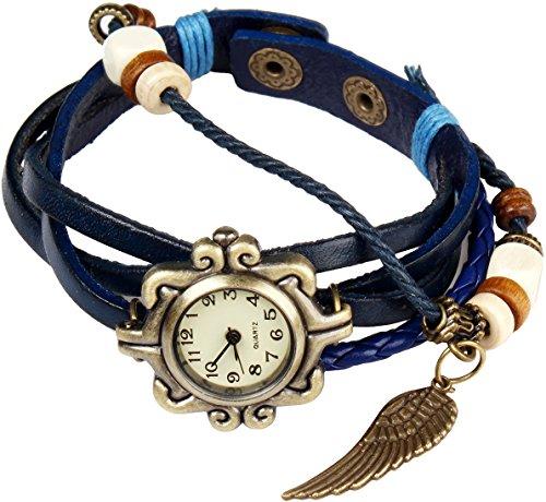Bohemian Stil wasserfest Retro handgefertigt Leder Angel Wing Anhaenger Armbanduhr Modisches Luxus und stilvoll Gewebe um Armbanduhr Armband fuer Frauen Damen Maedchen kratzfest Blau