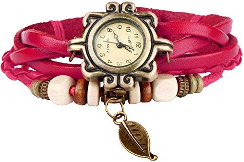 GPCT Damen Retro handgefertigt Kunstleder Blatt Armbanduhr Rose