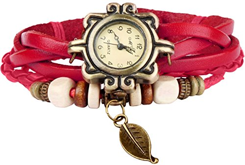 GPCT Damen Retro handgefertigt Faux Leaf Uhr Rot