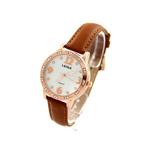 Damen Armbanduhr Leder braun goldfarben LEINA 1027