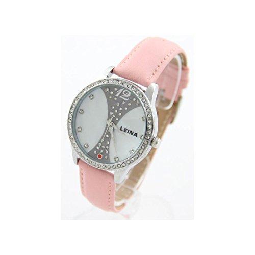 Damen der Fantasie Armbanduhr Leder rosa LEINA 1307
