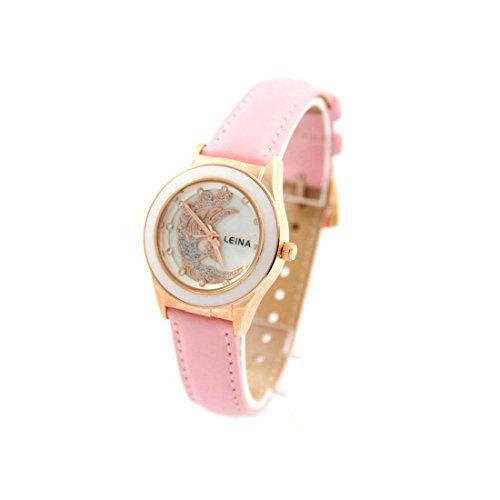 Damen Fantasie Armbanduhr Leder rosa LEINA 703
