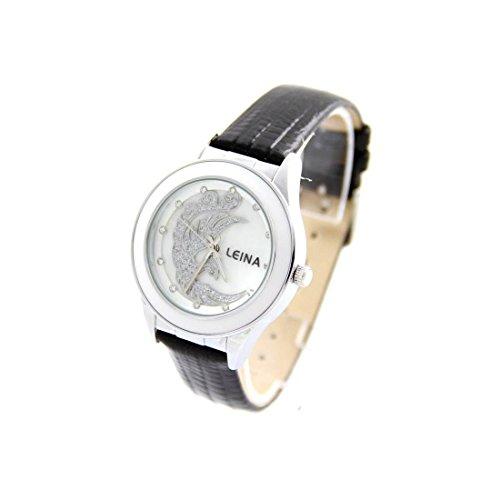 Zeigt Damen Armband Leder Farbe Schwarz LEINA 719