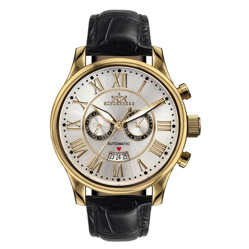 Hindenberg Armbanduhr Open Date Leder gold silber