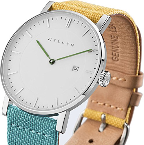 Meller Unisex Dag bimeadow minimalistische Uhr mit Weiss Analog Anzeige und Lederband