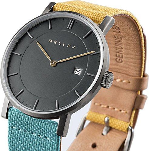 Meller Unisex Nag bimeadow minimalistische Uhr mit grau Analog Anzeige und Lederband