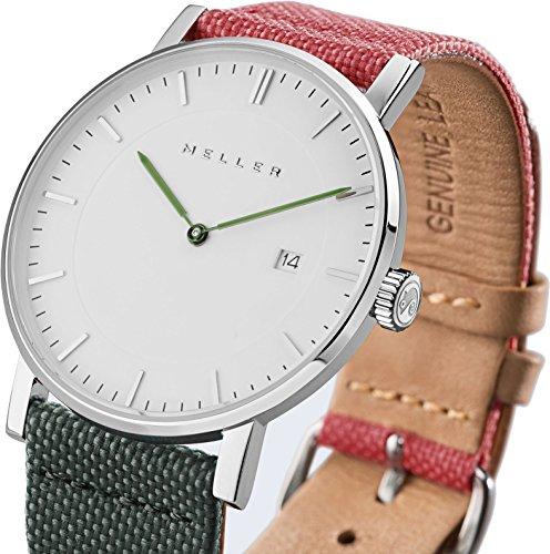 Meller Unisex Dag biplanet minimalistische Uhr mit Weiss Analog Anzeige und Lederband