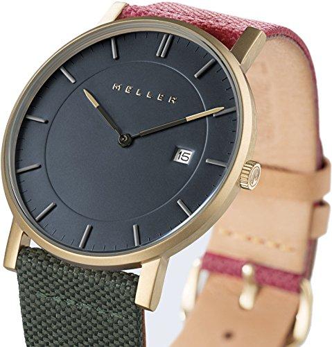Meller Unisex Balk biplanet minimalistische Uhr mit grau Analog Anzeige und Lederband
