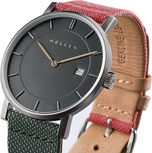 Meller Unisex Nag biplanet minimalistische Uhr mit grau Analog Anzeige und Lederband
