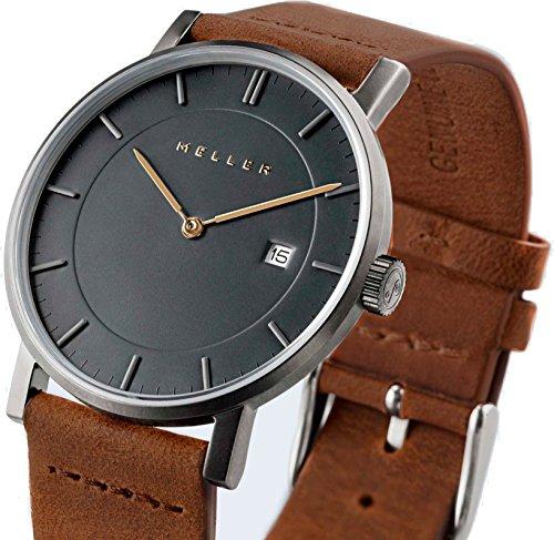 Meller Unisex Nag Camel minimalistische Armbanduhr mit grauer Analog Anzeige und Lederband