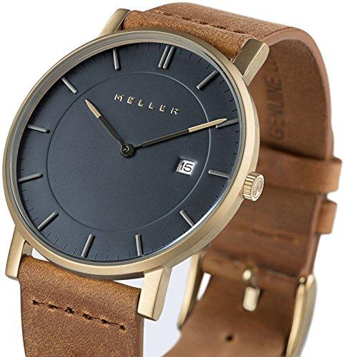 Meller Balk Unisex Camel minimalistische Uhr mit grau Analog Anzeige und Lederband