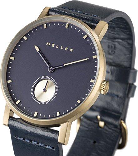 Meller Unisex Maori Balk Marine minimalistische Uhr mit blau Analog Anzeige und Lederband