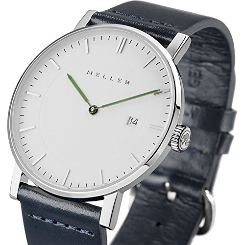Meller Unisex Dag Marine minimalistische Uhr mit Weiss Analog Anzeige und Lederband