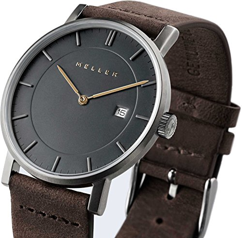 Meller Unisex Nag Earth minimalistische Uhr mit grau Analog Anzeige und Lederband