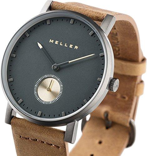 Meller Unisex Maori Nag Camel minimalistische Uhr mit grau Analog Anzeige und Lederband