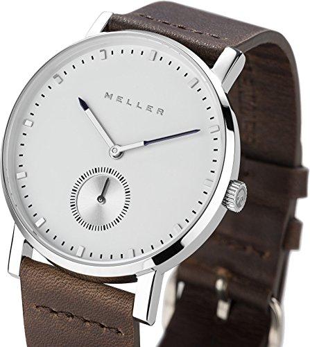 Meller Unisex Maori Dag Earth minimalistische Uhr mit Weiss Analog Anzeige und Lederband