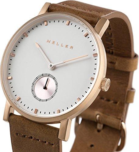 Meller Unisex Maori Roos Camel minimalistische Uhr mit Weiss Analog Anzeige und Lederband