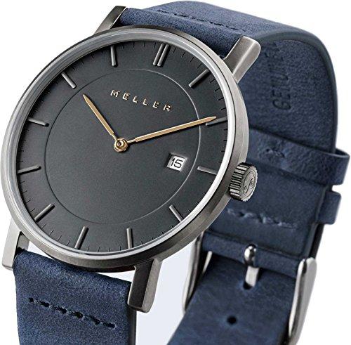 Meller Unisex Nag Marine minimalistische Uhr mit grau Analog Anzeige und Lederband