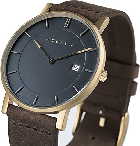Meller Unisex Balk Earth minimalistische Uhr mit grau Analog Anzeige und Lederband