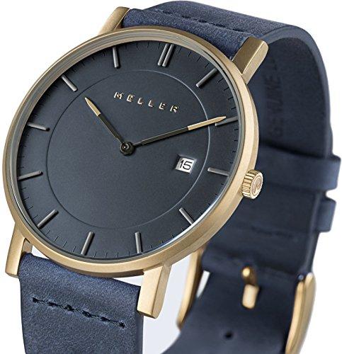 Meller Unisex Balk Marine minimalistische Uhr mit grau Analog Anzeige und Lederband
