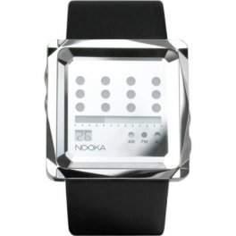 Nooka - Zem Zot Night Mirror Leder Silber - Designuhr aus NewYork Herrenuhr