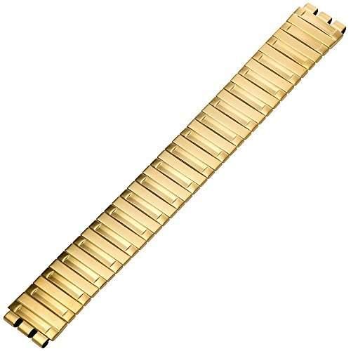Uhrenarmband 17mm Edelstahl gold, Swatch-Anstoss - Marburger Uhrband aus Metall passend fuer SWATCH Armbanduhren - vergoldetes Flexband  Zugband  Metallband - Uhrenarmbaender von Marburger seit 1945