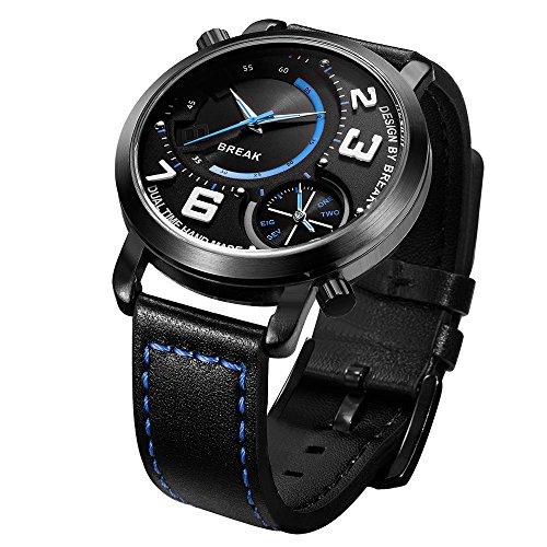 Break 2016 Original Herren Dual Quarz Bewegung Sport Fashion Top Luxus Leder schwarz Trageriemen Wasserdicht Uhren 3023bu