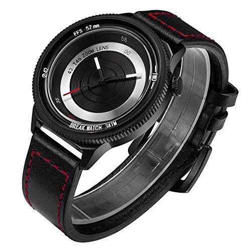 Break Unique Herren Damen Unisex Luxus Casual Fashion City Sport Kamera Stil Armbanduhr Creative Lederband wasserdicht Japan Quarz Geschenk Uhren