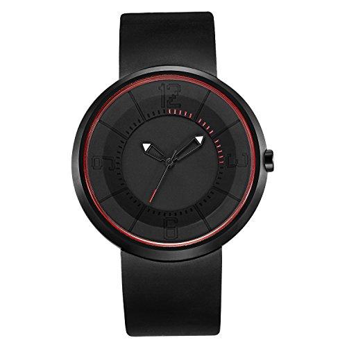 break R Unique B101RD Zeiger Rot Design Minimalist Luxus Marke Geek Quarz Unisex Maenner Frauen Liebhaber Geschenk 3ATM wasserdichte Gummibuegel Art und Weise beilaeufige Sportuhren Uhren