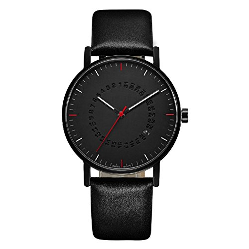break TM Einzigartige B102BK schwarz Herren minimalistische Creative Schlichte 5 ATM Saphir Stahl Echtleder Riemen Quartz Classic Luxus Top Fashion Casual Maenner Man Watch Uhren