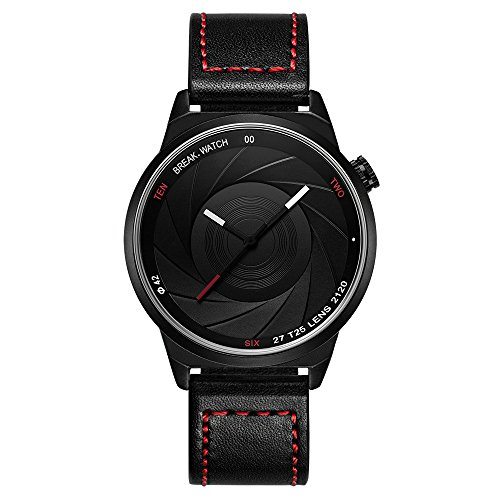 Break Marke neue Herren Damen Unisex Cool Sports einfach rot Lederband Quarz Creative Fashion Fotografen Serie Uhren