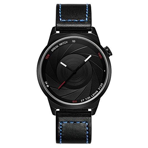Break Marke neue Herren Damen Unisex Cool Sports einfach blau Lederband Quarz Creative Fashion Fotografen Serie Uhren