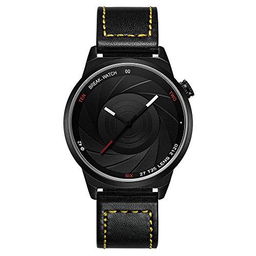Break Marke neue Herren Damen Unisex Cool Sports einfach gelb Lederband Quarz Creative Fashion Fotografen Serie Uhren